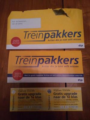Gratis couponboekje treinpakkers met onder andere gratis upgrade 1e klas