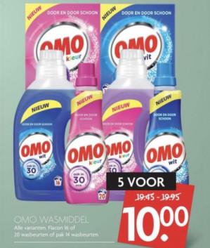 5 Verpakkingen Omo (100 wasbeurten) Alle varianten voor €10
