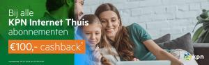 KPN internet of Internet+tv abonnement met €100 cashback