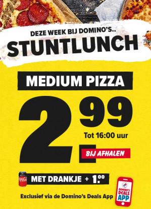 Medium pizza voor €2,99 (Lunchdeal)