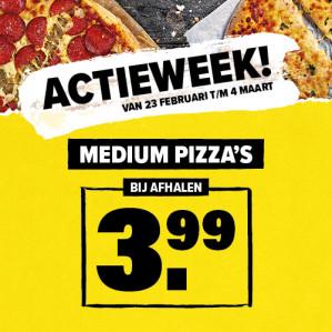 Actieweek Domino's bij geselecteerde vestigingen alle medium pizza's €3,99 bij afhalen