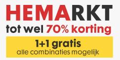 HEMArkt kortingen tot 70% + alles 1+1 gratis