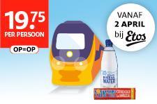 NS dagretour met een flesje water en een Tony Chocolonely reep voor €19,75