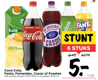 Coca-Cola, Fanta, Fuzetea, Cassis,of Fernandes 6 voor €5