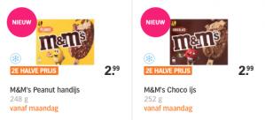 M&M ijs vanaf aanstaande maandag 2e voor helft van de prijs