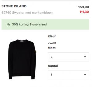 Code voor 30% korting met code op Stone Island bij de Bijenkorf
