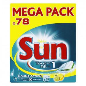Sun All In 1 Citroen - 78 stuks - Vaatwastabletten Sun All in 1 Citroen vaatwastabletten met frisse citroengeur voor €11