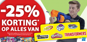Diverse Nerf, My Little Pony, Play-Doh en Transformers speelgoed met 25% korting