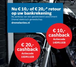 Tot €20 cashback bij Dremel dmv code