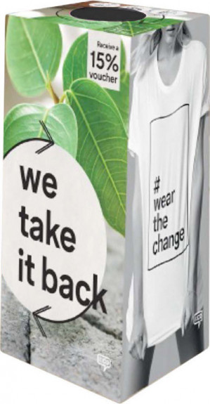 Na inleveren tas oude kleding of schoenen 15% korting bij C&A