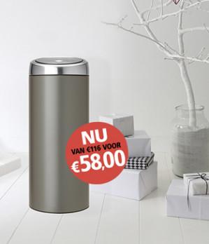 Brabantia Touch Bin Prullenbak - 30 l - Platinum voor €58 dmv code