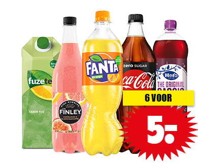 Coca-cola, Finley, Fanta, Hero of Fuze tea 6 voor €5