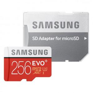 Samsung Evo+ 256 GB Micro SD kaart - met adapter voor €78,47