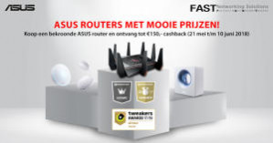 Diverse Asus routers met €150 cashback