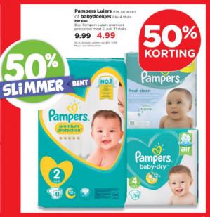 Pamper luiers of babydoekjes 50% korting