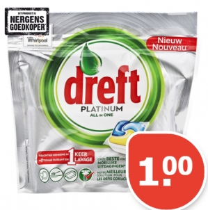 Dreft Vaatwastabletten platinum citroen zak van 10  stuks voor €1