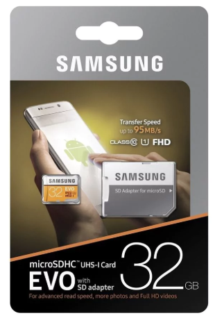 Samsung 32GB, MicroSDXC EVO 32GB SDXC UHS-I Klasse voor €9,99