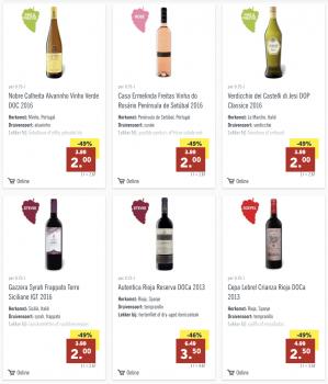 Flessen wijn (wit,rood,rose) voor €2