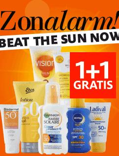1+1 gratis  op alle zonbescherming