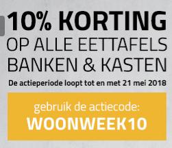 10% korting op alle eettafels banken en kasten