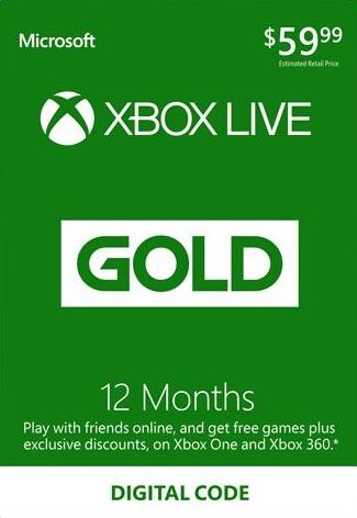 12 Maanden Xbox Live Gold (digitale code) voor €35,29 dmv code