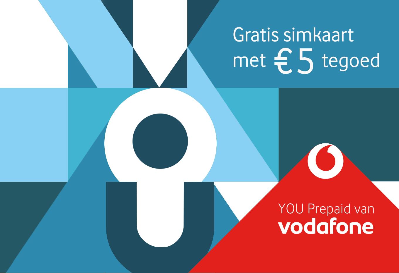 Vodafone simkaart Gratis met €5 beltegoed