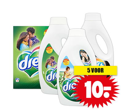 Dreft wasmiddel 5 flessen of pakken voor €10