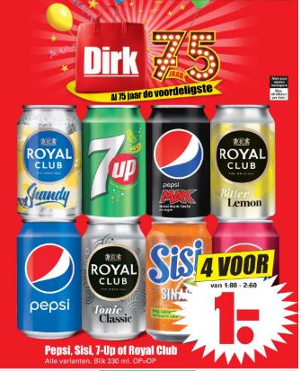 4 blikjes Pepsi, Sisi, 7-Up of Royal Club  voor €1