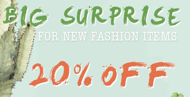 20% korting op nieuwe items