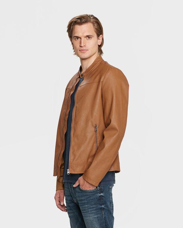 Heren leather look biker jacket voor €30