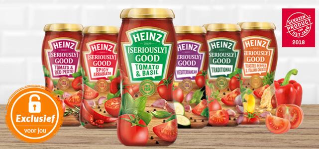 Heinz Good Pastasauzen dmv cashback van €2,49 voor €1 voor geselecteerde leden