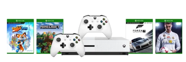 Xbox One Slim 1Tb,console + extra controller, Fifa 18, Forza 7, Minecraft, Sea of Thieves voor €233,64
