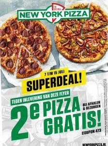 Code voor 2e pizza gratis bij bezorgen en afhalen