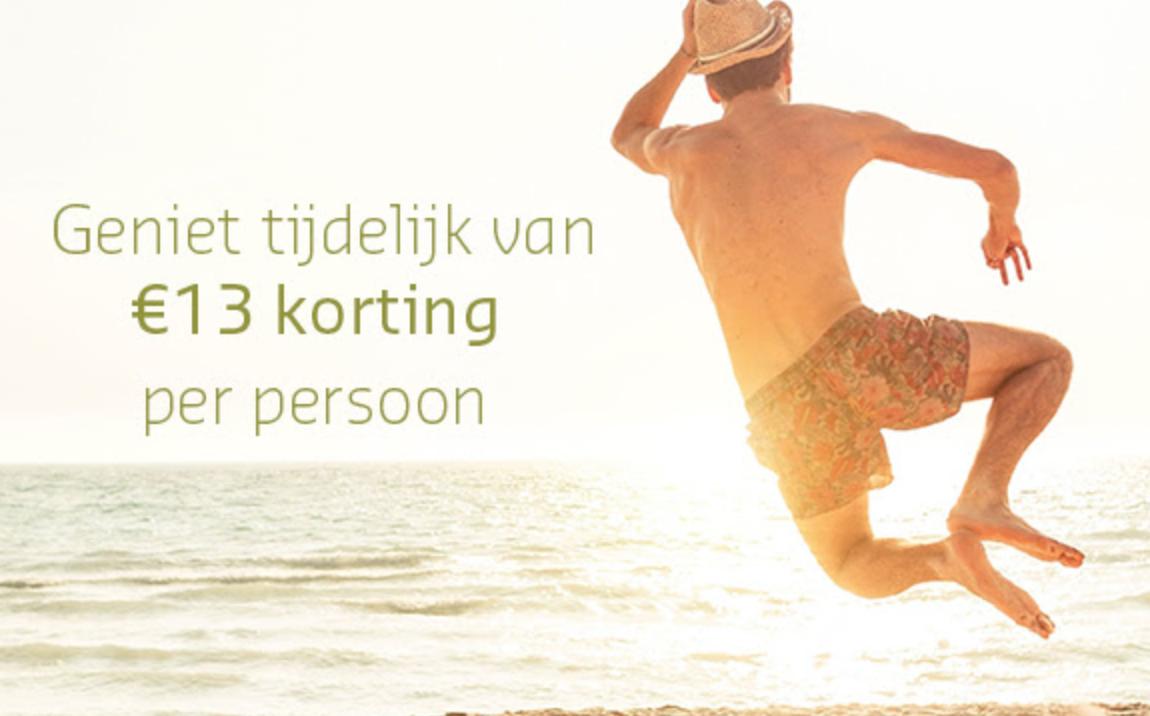 €13 korting per persoon op vakanties