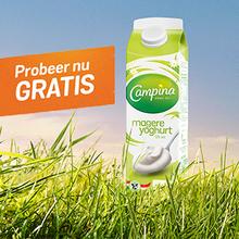 Probeer Campina magere yoghurt 1 liter gratis dmv cashback