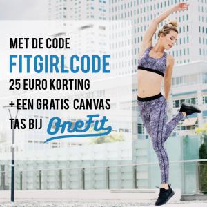 25 Euro korting en een gratis Canvas tas bij OneFit door code