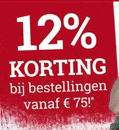 12% korting op alles vanaf 75 euro