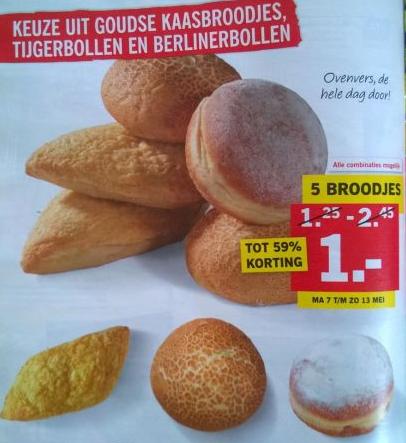 5 Goudse kaasbroodjes, tijgerbollen en / of berlinerbollen) voor €1