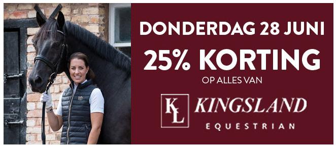 25% korting op alles van Kingsland