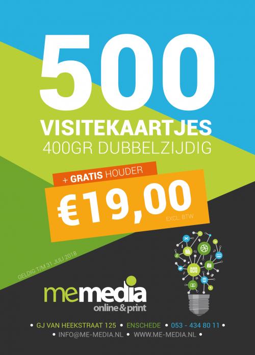 500 Visitekaartjes + GRATIS houder voor €19