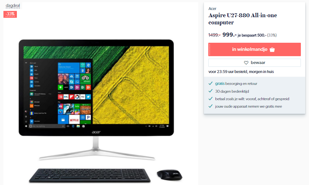 Acer Aspire U27-880 NL all-in-one computer voor €999
