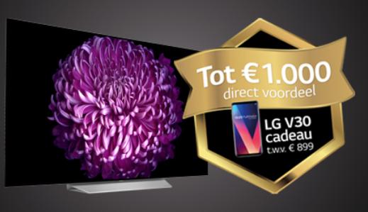Bij aanschaf van een geselecteerde OLED tv een LG V30 smartphone  Gratis