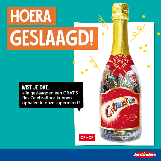 Gratis flesje celebrations voor alle geslaagden