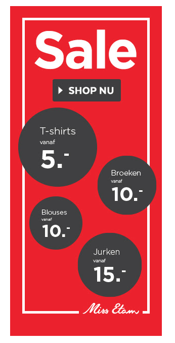 Miss Etam sale shirts, broeken, blouses en jurken vanaf 5 euro