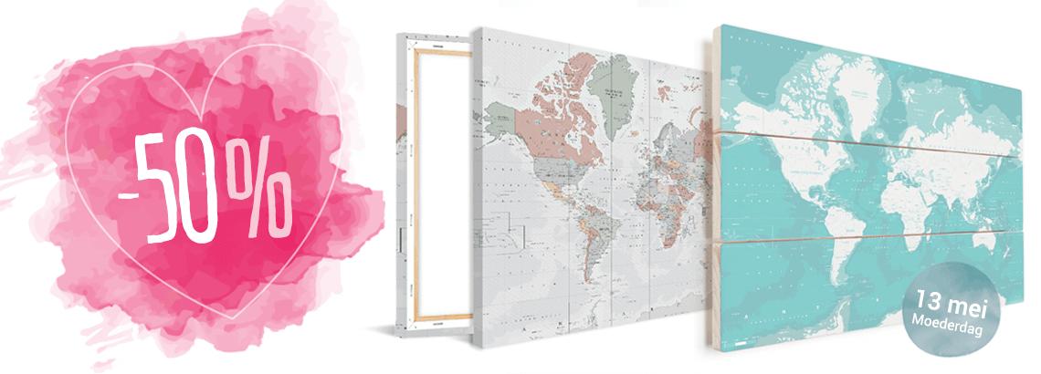 50% korting op wanddecoratie wereldkaarten