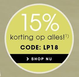 15% korting op alles