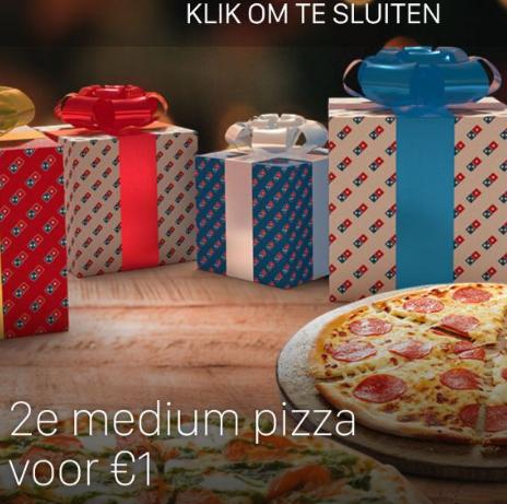 Kortingscode Domino's pizza bestel de 2e pizza voor €1 bij afhalen