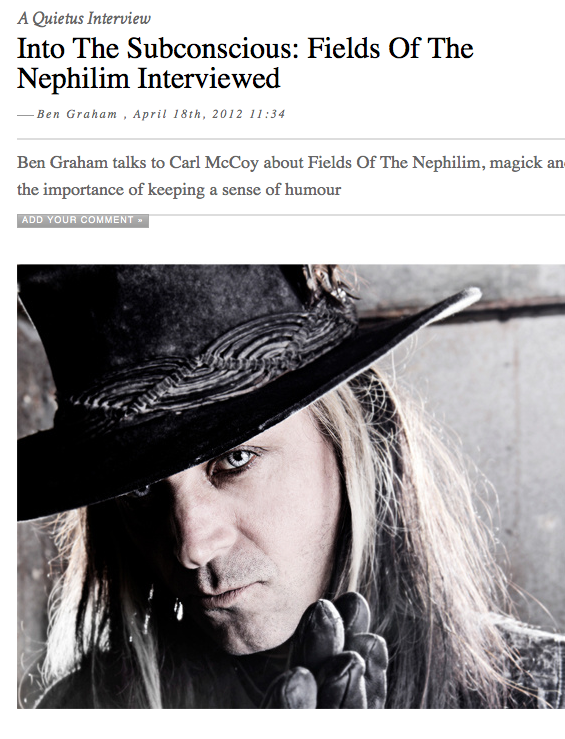 Into The Subconscious: Fields Of The Nephilim Interviewed