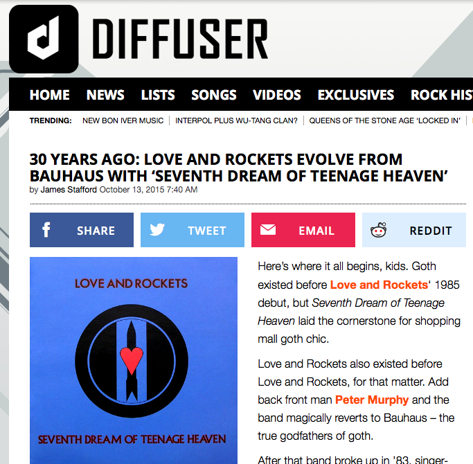 30 Years Ago: Love and Rockets Evolve From Bauhaus With 'Seventh Dream of Teenage Heaven'