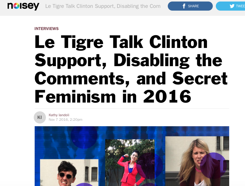 Le Tigre Talk Clinton Support, Disabling the Comments, and Secret Feminism in 2016